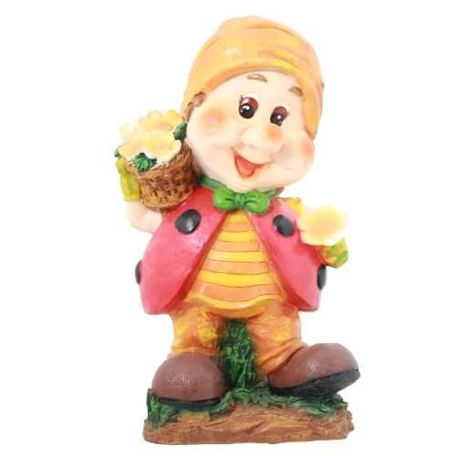 Садовая фигура Гномик с цветами