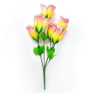 Искусственный цветок Бутон розы желто-розовый