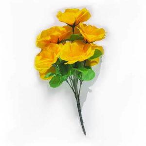 Искусственный цветок Роза насыщенно-желтая