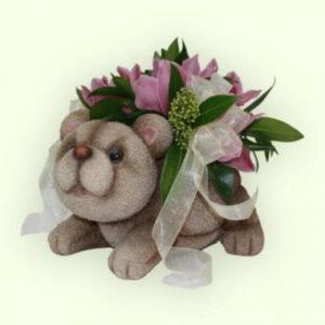 Кашпо Мишка с цветочками