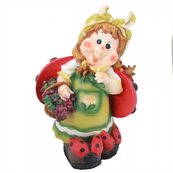 Садовая фигура Гном Девочка с черникой