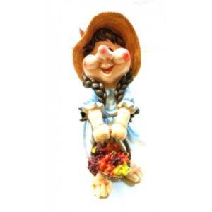 Садовая фигура Гном Девочка с корзинкою фруктов