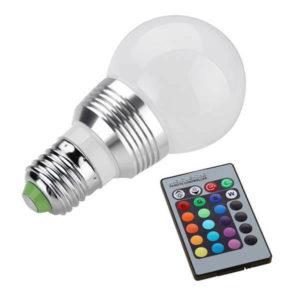 Лампа цветная светодиодная RGB с пультом управления