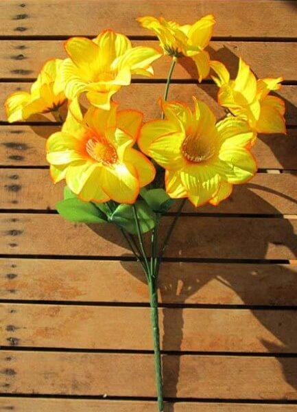Геогина желтая с оранжевой полосочкой