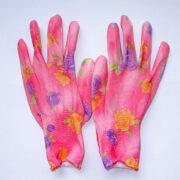Перчатки розовые с цветочками